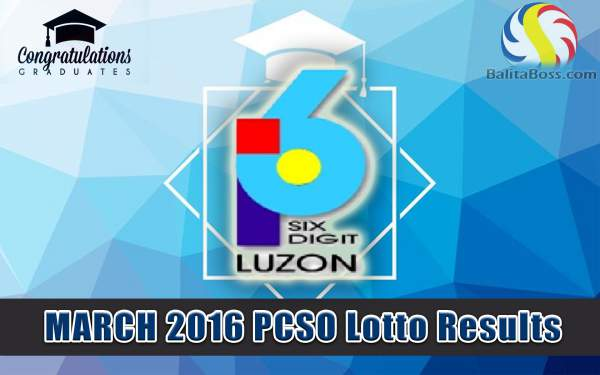 Image: March 2016 PCSO 6 Digit Lotto