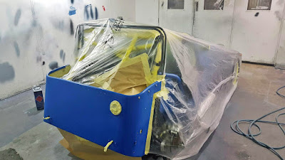 The car was then fully masked and the blue paint prepped for the stripes to be masked