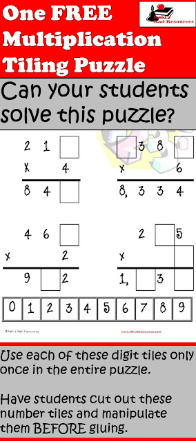 Free multiplication tiling puzzle for your math centers from Raki's Rad Resources