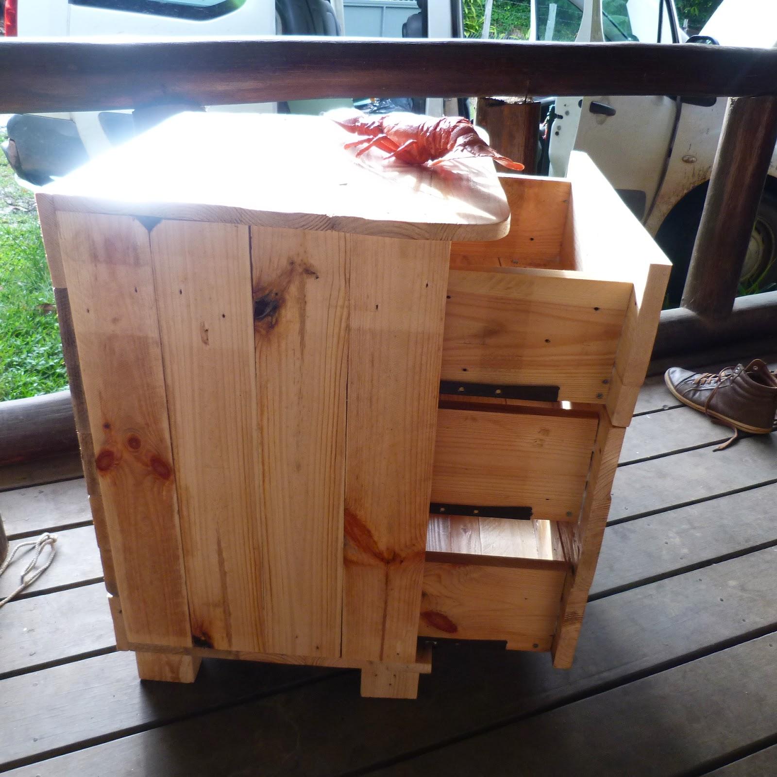 la pince en palette table de chevet 3 tiroirs. Black Bedroom Furniture Sets. Home Design Ideas