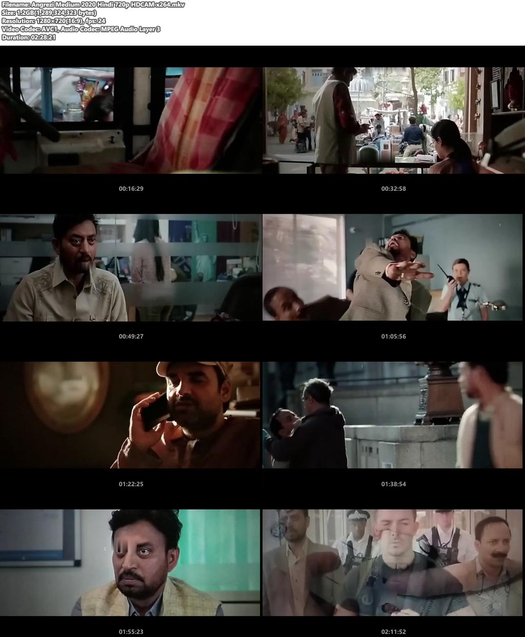 Angrezi Medium 2020 Hindi 720p HDCAM x264 | 480p 300MB | 100MB HEVC Screenshot