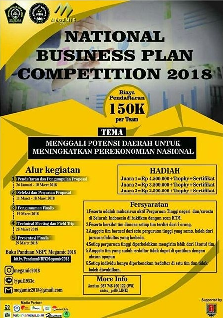 Lomba National Business Plan Competition MEGAMIC 2018 Unissula Semarang
