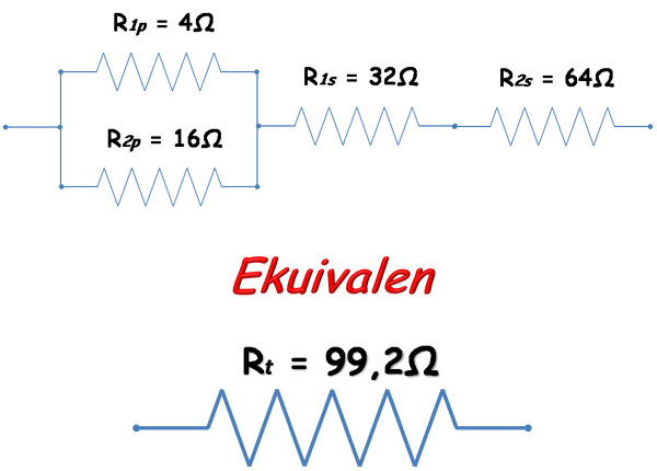 Bagaimana cara Menghitung Total Nilai Hambatan  Menghitung Total Hambatan Resistor secara Seri, Paralel dan Campuran (Seri Paralel)