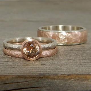 peach champagne sapphire rings
