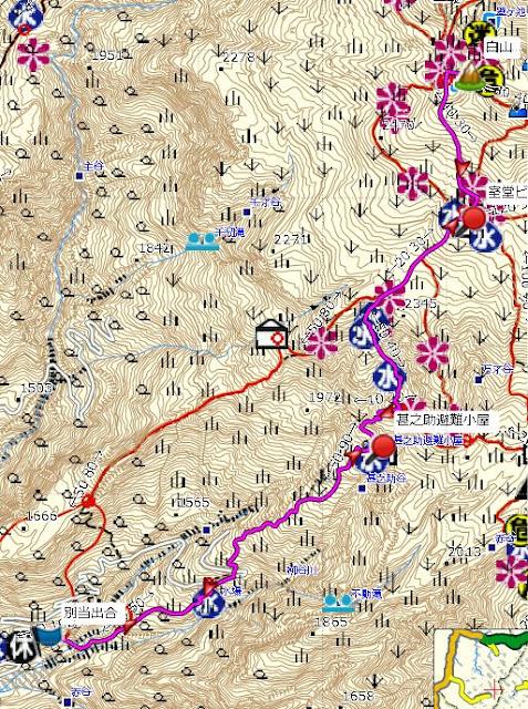 白山 登山コース地図