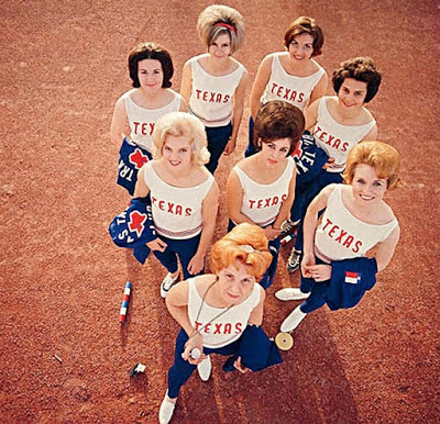 _ Flamin' Mamie's Bouffant Belles, Texas Girls Track Team, known for running with big hair.