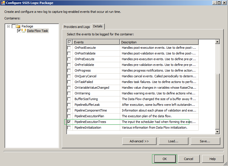 Exact Help: Understand execution Tree and configure | enable in SSIS