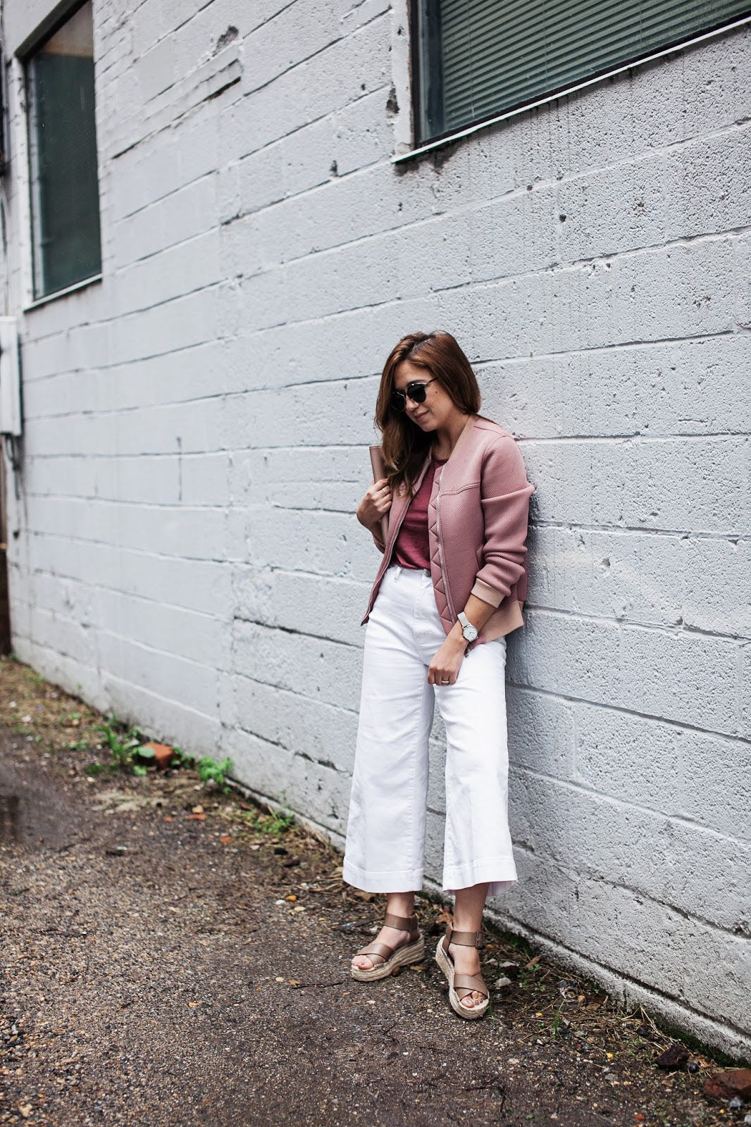 pink, style, how to style pink, blush tones, topshop, nordstrom, madewell, denim, white jeans, flatforms, platform, espadrilles, sole society, bomber jacket, outfit, fashion, blogger, blog, dc, dc blogger, influencer, inspiration