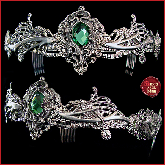 couronne elfique vert forêt nymphe cheveux diadème dryade pagan crown elven green fairy circlet fantasy medieval tiara dryad nymph diadem