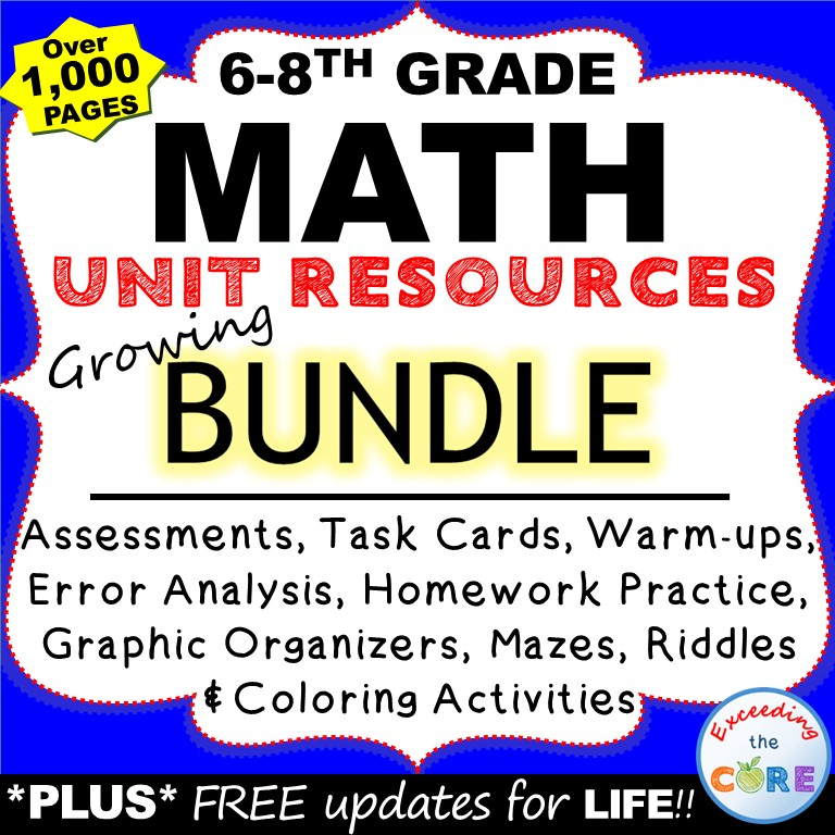 Exceeding the CORE: Middle School MATH GROWING BUNDLE Grades 6-8
