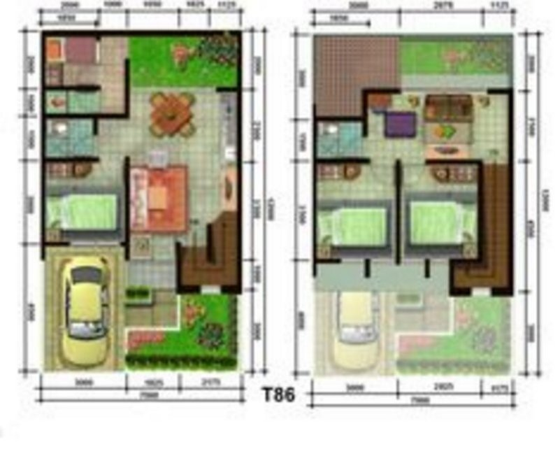 denah rumah minimalis 7x9 1 lantai 3