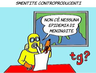 meningite, epidemie, vaccini, complotti, informazione, post verità, satira, vignetta