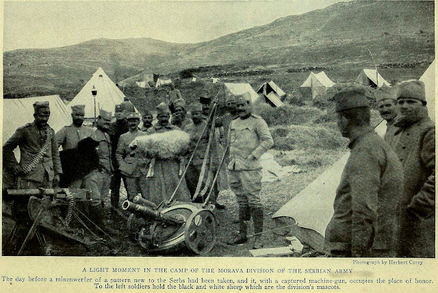 A LIGHT MOMENT IN THE CAMP OF THE MORAVA DIVISION OF THE SERBIAN ARMY The day before a minenwerfer of a pattern new to the Serbs had been taken, and it, with a captured machine-gun, occupies the place of honor. To the left soldiers hold the black and white sheep which are the division's mascots.