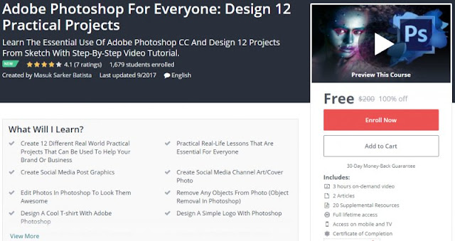 [100% Off] Adobe Photoshop For Everyone: Design 12 Practical Projects| Worth 200$