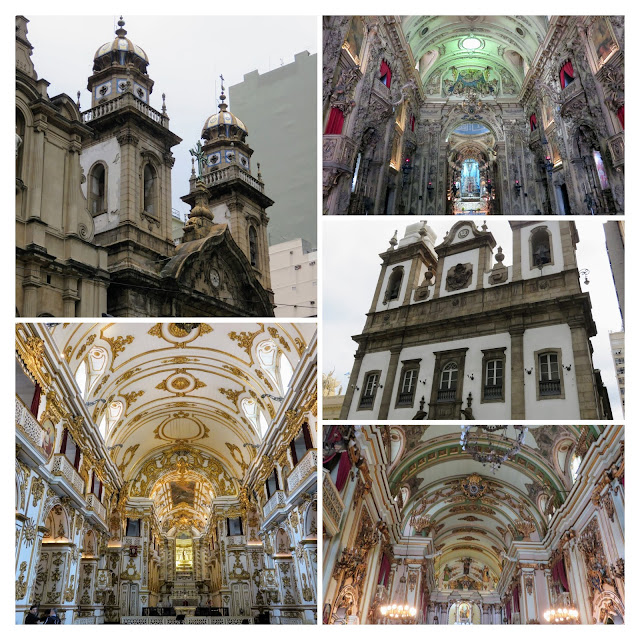 Collage of interiors and exteriors of churches in Rio de Janeiro Centro District