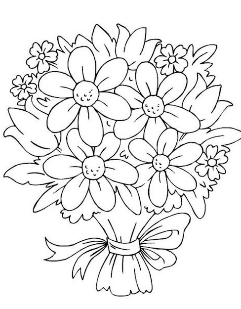 Bouquet Of Flowers Coloring Pages