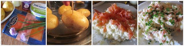 Ingredientes para patatas rellenas de queso y salmón