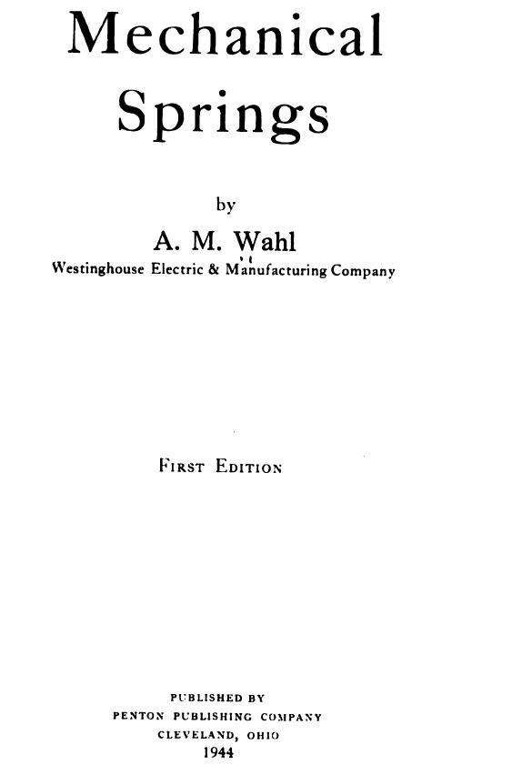 AM WAHL MECHANICAL SPRINGS EPUB