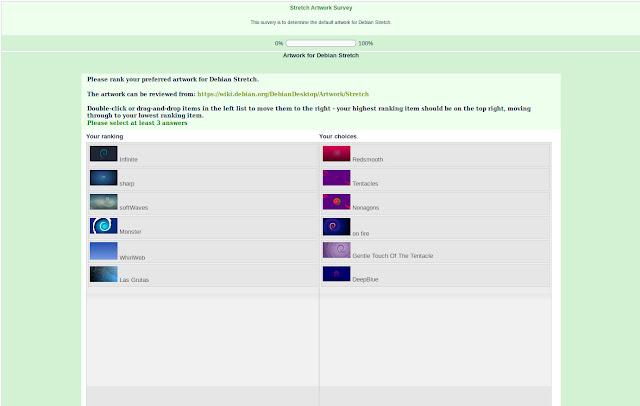 Vote e escolha o tema do próximo sistema Debian, o Debian GNU/Linux 9 Stretch!