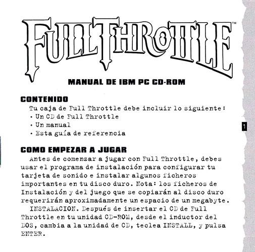 Full Throttle PC Manual IBM