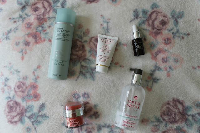 Beauty Empties, Beauty Skincare Empties, Beauty Bodycare Empties, Liz Earle Cleanser, Clarins Hand and Nail Cream, bareMinerals Night Serum, Rodial Dragon's Bloos Sculpting Gel, Molton Brown Pink Pepperpod Body Lotions, beauty, bloggers