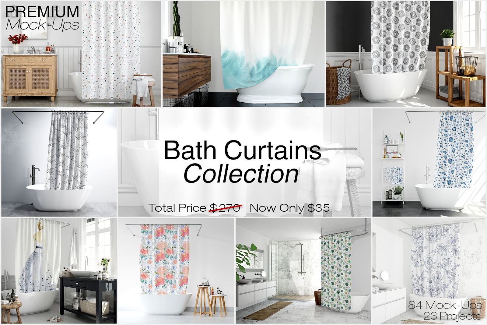 Bath Curtains Mockup Collection