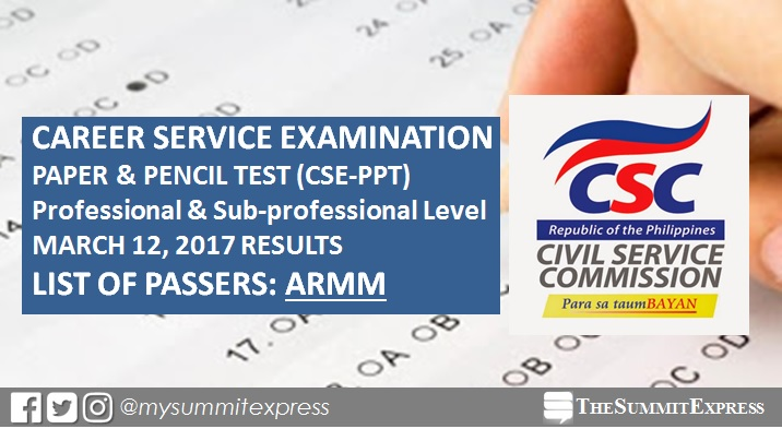 March 2017 Civil Service Exam ( CSE-PPT results) ARMM