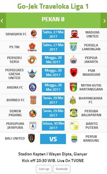 Jadwal Liga 1 Pekan Kedelapan 27-31 Mei 2017