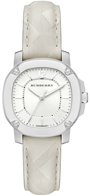 Burberry Britain Britain Stainless Steel & Check Leather Strap Watch