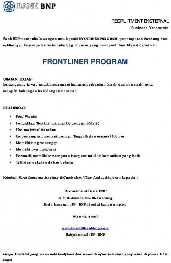 Lowongan Kerja PT Bank Nusantara Parahyangan Tbk