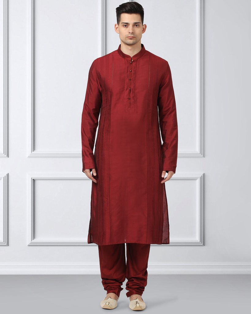 Ethnix Maroon Regular Fit Kurta With Churidar