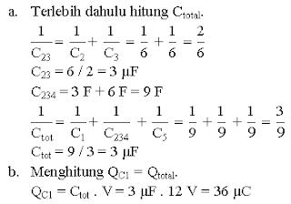 Menghitung muatan kapasitor dari rangkaian gabungan