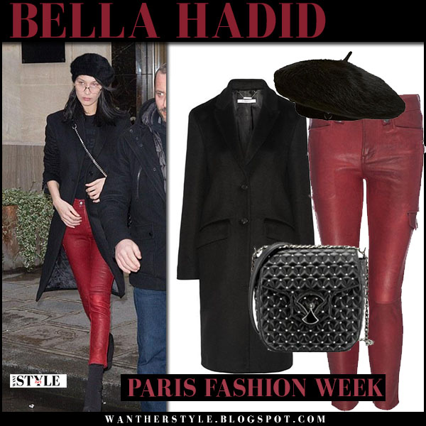 Bella Hadid in black coat, red leather frame pants with black beret charlotte simone bobbi what she wore paris fashion week