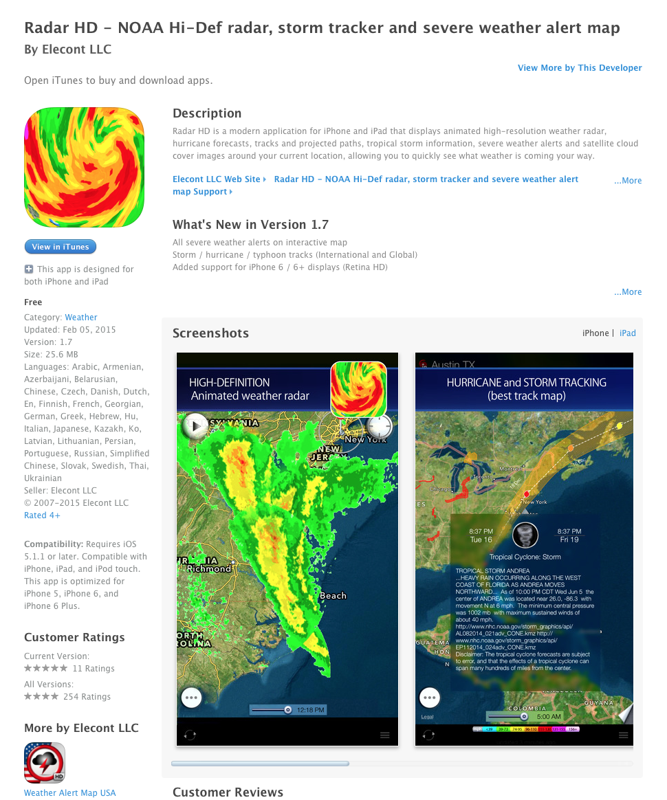 UCET Free iOS App Today: Radar HD - NOAA Hi-Def radar, storm