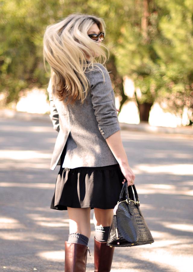 drop waist dress, vintage blazer, oxblood riding boots