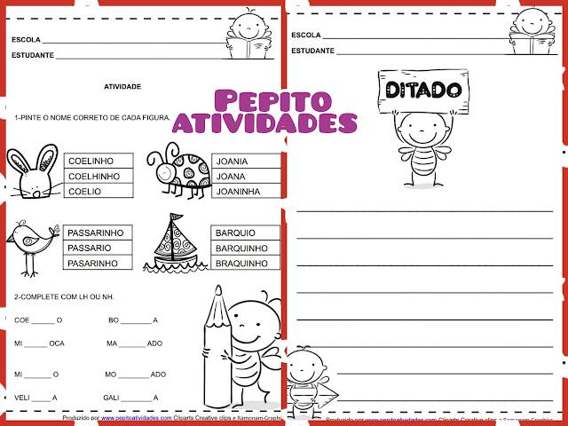 Atividades alfabetização com dígrafos LH e NH