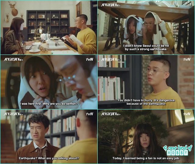 so joo and jeon seol hide under the table because of the earthquake - Chicago Typewriter: Episode 2