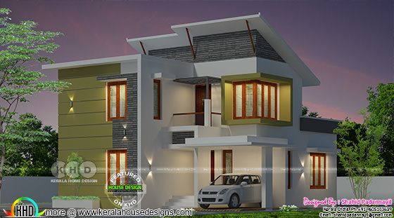Slanting roof mix 3 bedroom home 1450 sq-ft