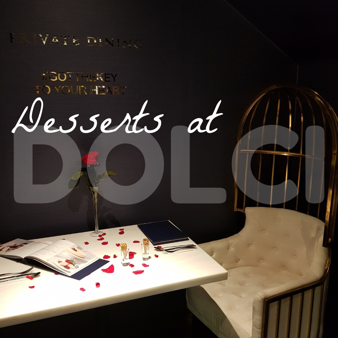 private dining booth at haute dolci dessert restaurant, Leicester, with rose petals on table