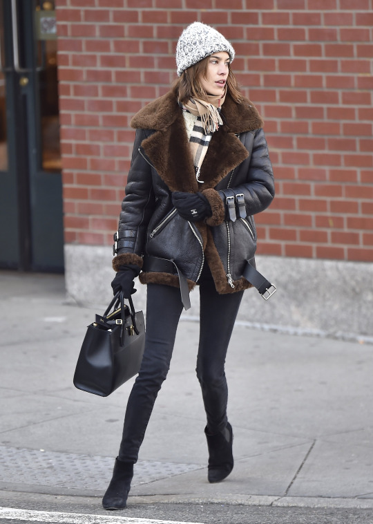 Alexa Chung Street Style Shearling Jacket
