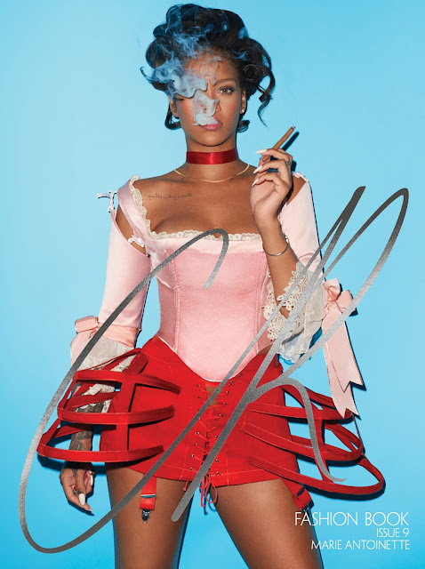 Rihanna x CR Fashion Book COAT AND NECKLACE DIOR, CORSET KUNZA CORSETORIUM RIHANNA WEARS TOP DILARA FINDIKOGLU, PANNIER LE VESTIAIRE Terry Richardson Fashion Carine Roitfeld Words Ray Siegel