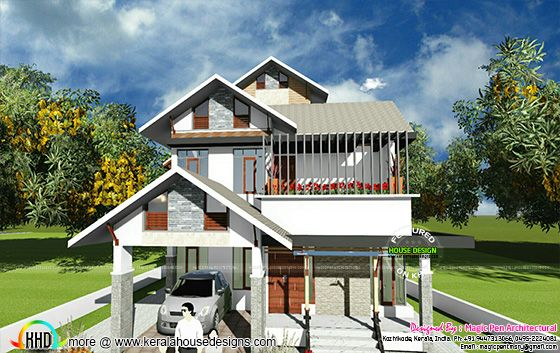 Modern sloping roof 2000 sq-ft home