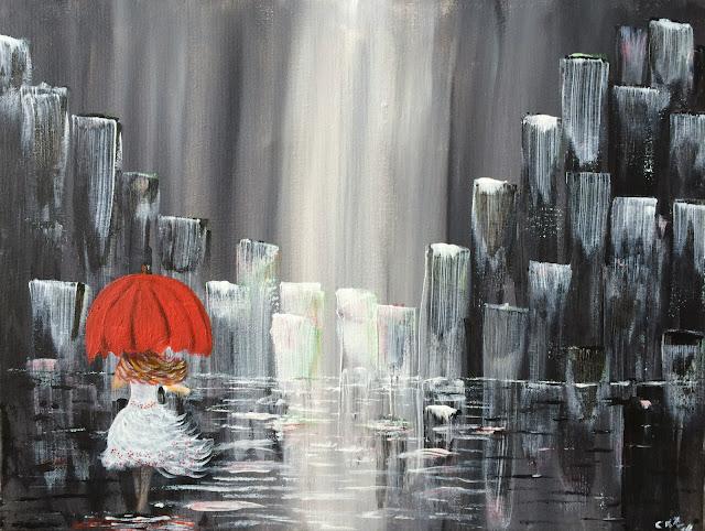 Girl walking on the rain, muchacha caminando bajo la lluvia, muchacha con sombrilla roja, red umbrella