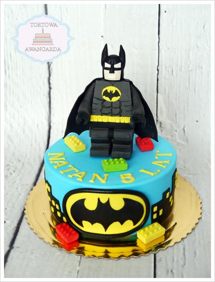 artystyczny kolorowy tort  urodzinowy Lego Batman dla chłopca Warszawa