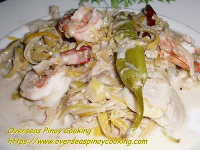 Ginataang Puso ng Saging at Hipon Dish