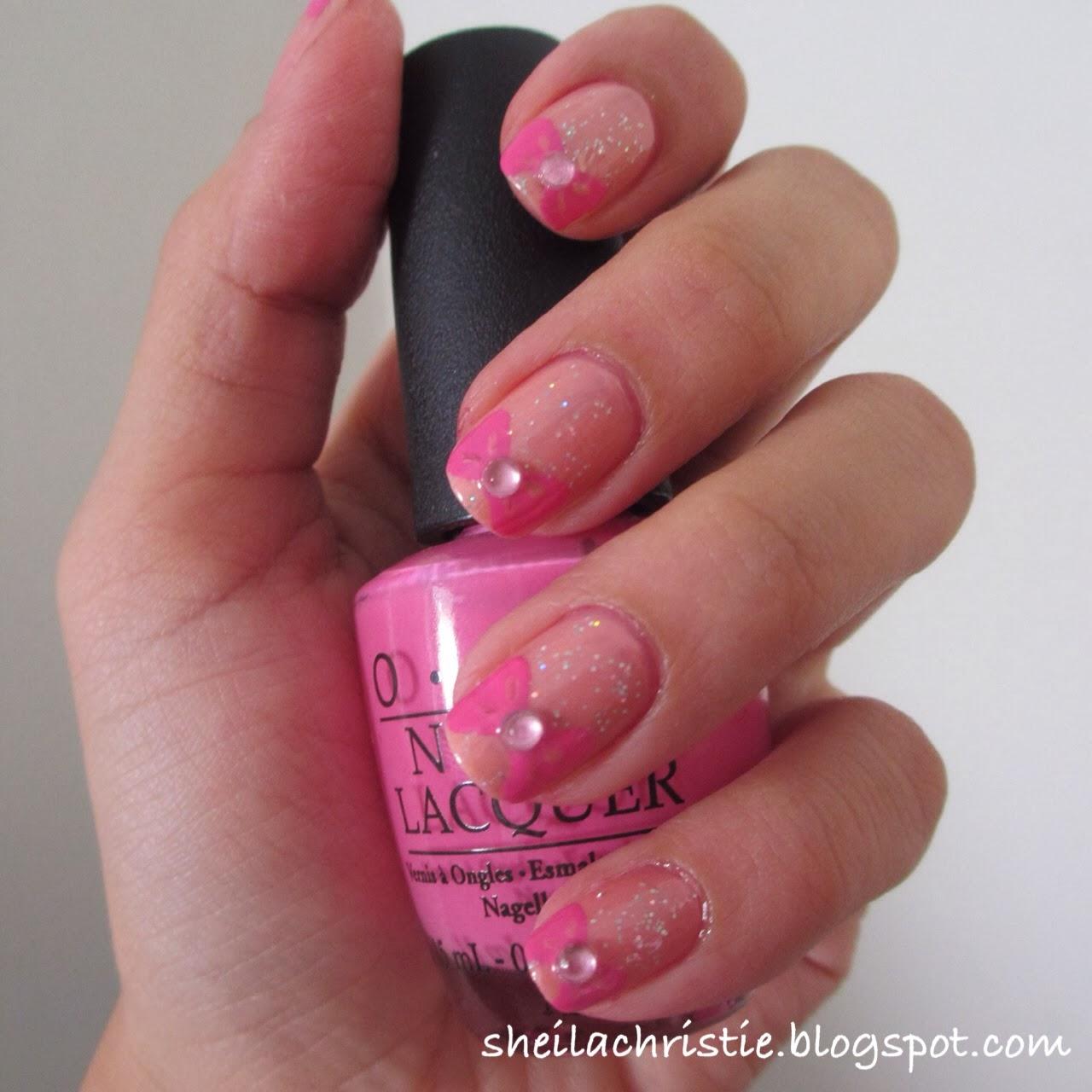 Pink Bow Nails | Glamoflage