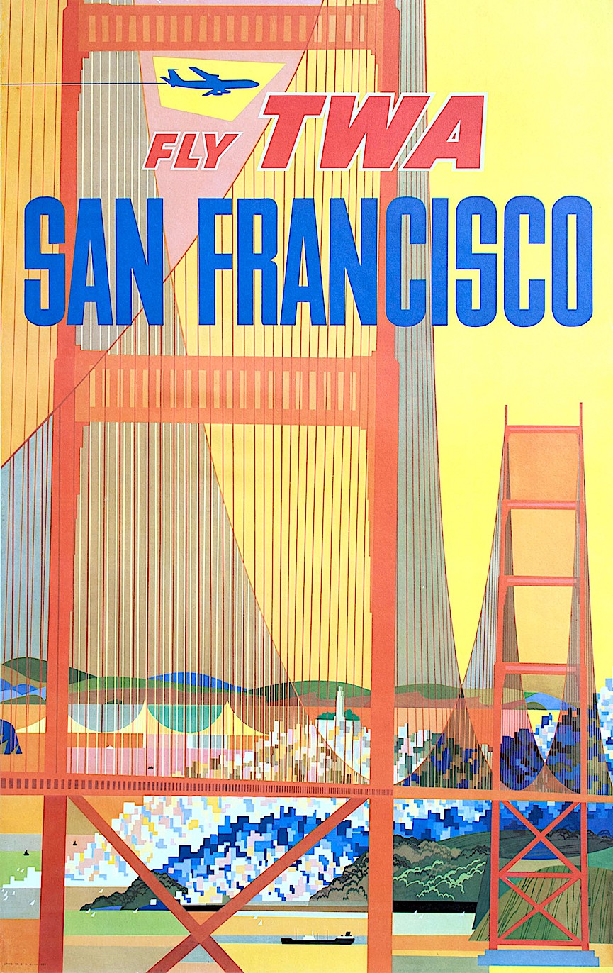 David Klein poster art for TWA San Fancisco, Golden Gate bridge