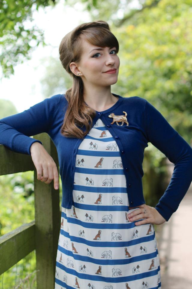 Erstwilder Goldie brooch and Sugarhill Boutique dog print dress