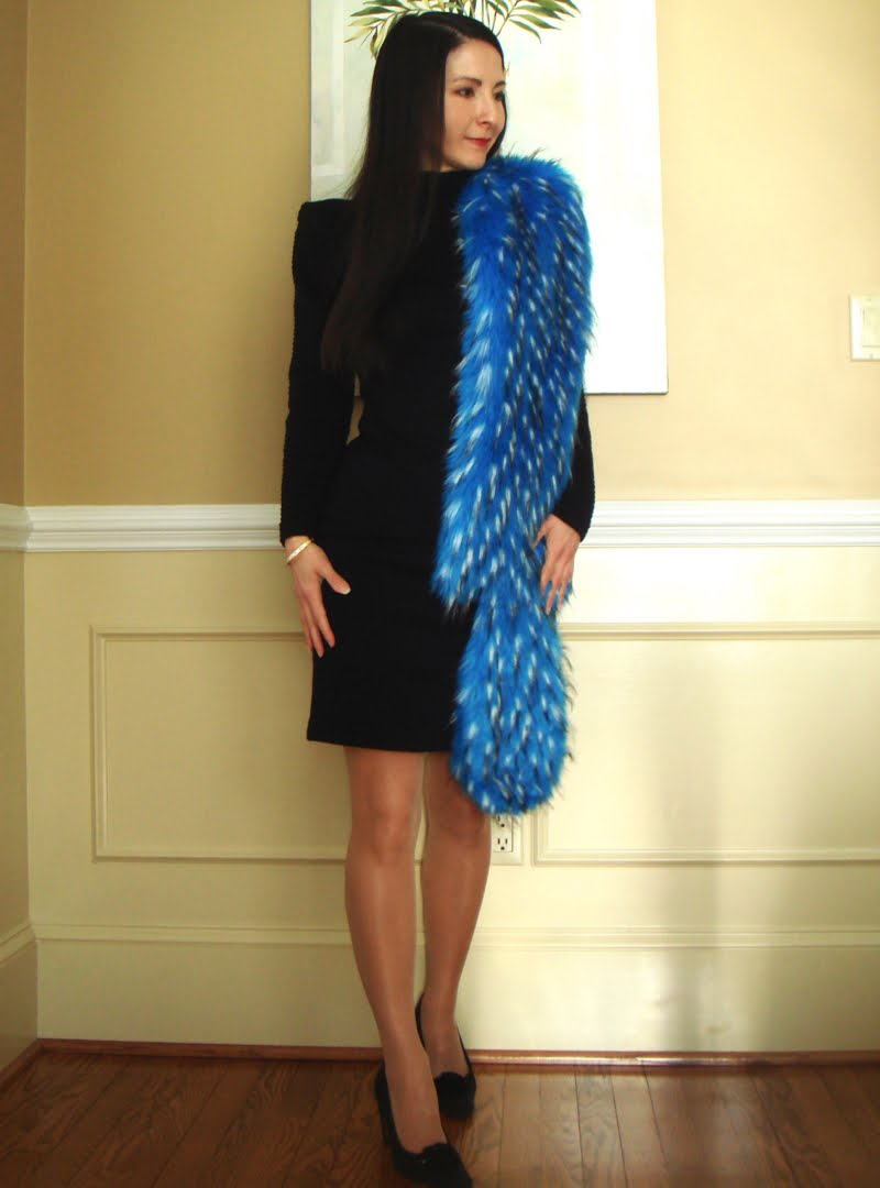 Formal Outfit with Blue Fur Stole - full body