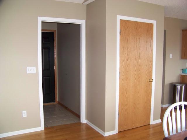 painting trim, white trim, painting oak trim
